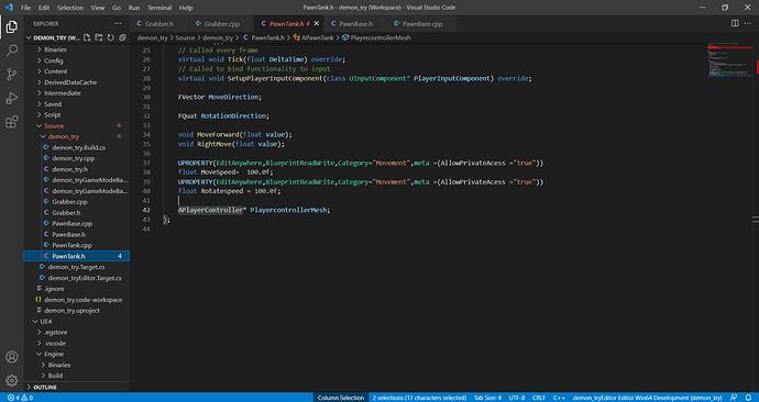 PawnTank.h - demon_try (Workspace) - Visual Studio Code 22_09_2021 11_04_20