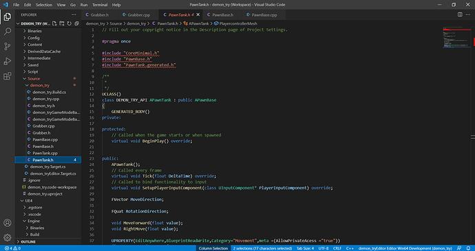 PawnTank.h - demon_try (Workspace) - Visual Studio Code 22_09_2021 11_03_20