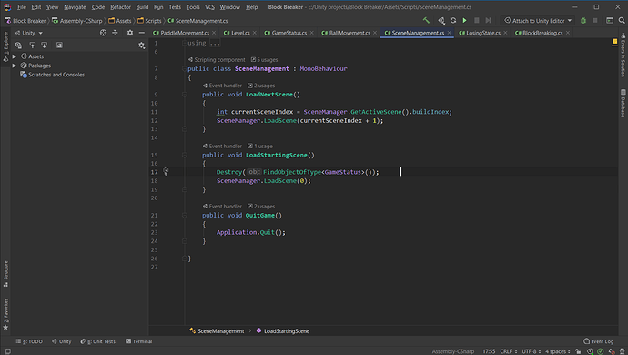 Block Breaker E__Unity projects_Block Breaker - ..._Assets_Scripts_SceneManagement.cs - JetBrains Rider 10-01-2021 07_53_17 PM
