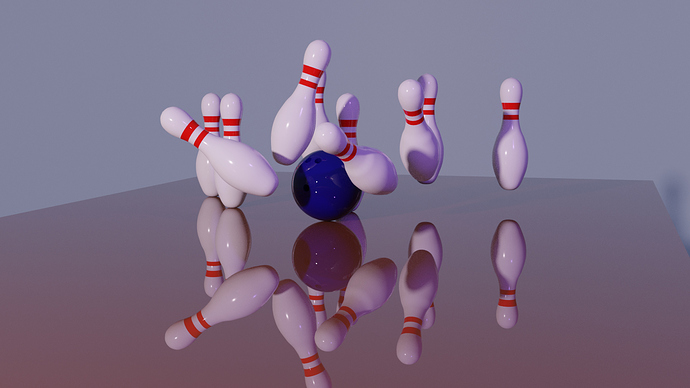 Bowling ball and pin_Cycles rendered_with dark reflections