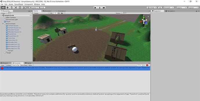Unity 2018.3.0f2 Personal - SampleScene.unity - RPG CORE - PC, Mac & Linux Standalone DX11 6_01_2021 11_32_17 PM