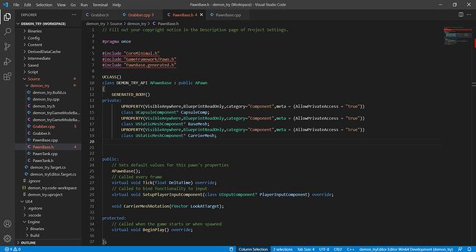 PawnBase.h - demon_try (Workspace) - Visual Studio Code 22_09_2021 10_21_45