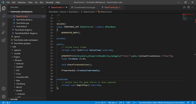 PawnTurret.h - ToonTanks (Workspace) - Visual Studio Code 05_08_2021 17_19_55