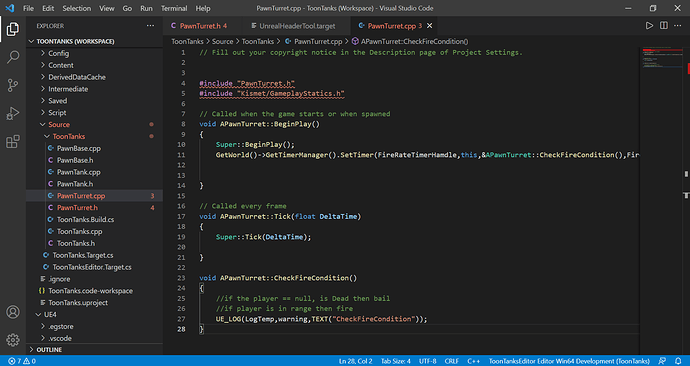 PawnTurret.h - ToonTanks (Workspace) - Visual Studio Code 05_08_2021 17_20_20