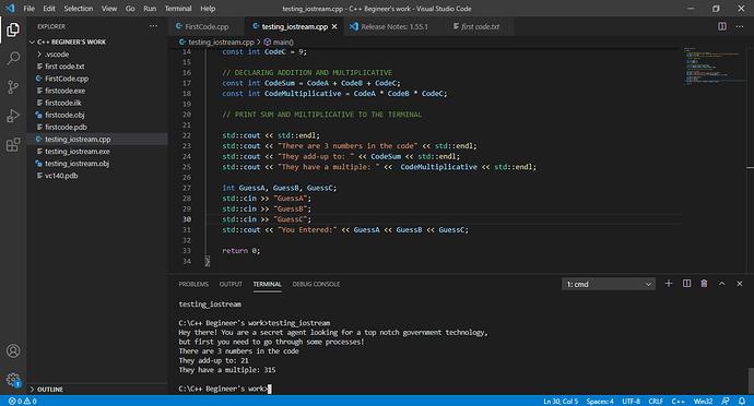 testing_iostream.cpp - C++ Begineer's work - Visual Studio Code 13_04_2021 18_30_59