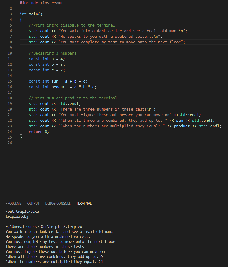 Code so far